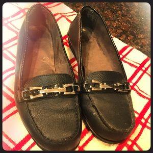 Navy blue slip on loafer